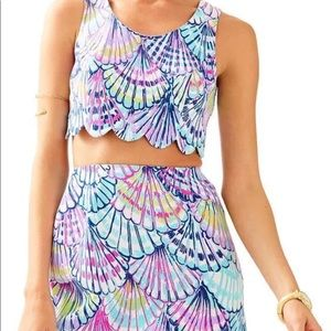 Lily Pulitzer's shell pattern crop top and skirt